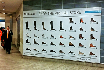 SHOEme.ca Virtual Shopping Wall Mural Vancouver Lamar Advertising British Columbia