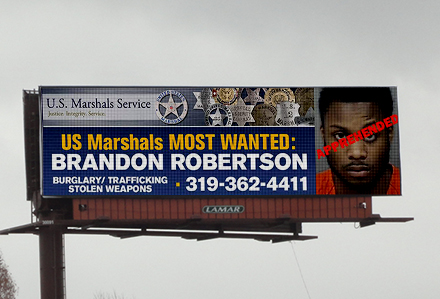Most Wanted Billboards Donated By Lamar Advertising of Cedar Rapids