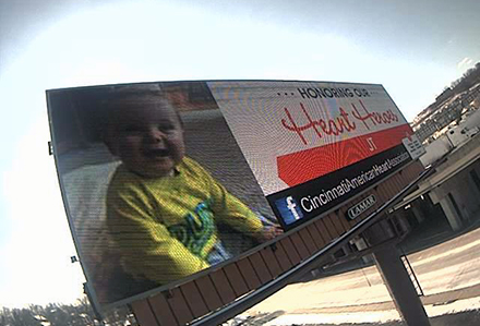 Lamar Advertising Cincinnati American Heart Association Heart Heroes Digital Billboard