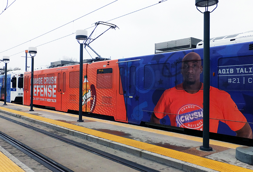 PepsiCo Denver Broncos RTD Light Rail Lamar Advertising Denver, CO