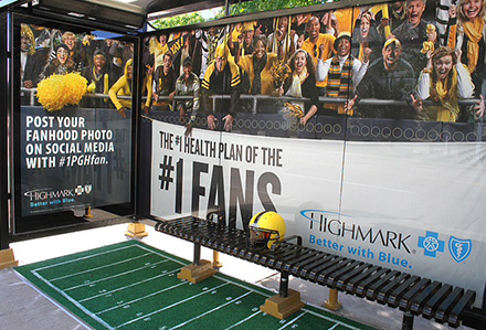 Lamar Advertising Pittsburgh Highmark Football Bus Shelter