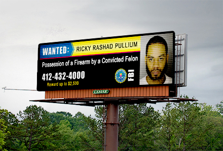 FBI Alert Running on Lamar Digital Billboard