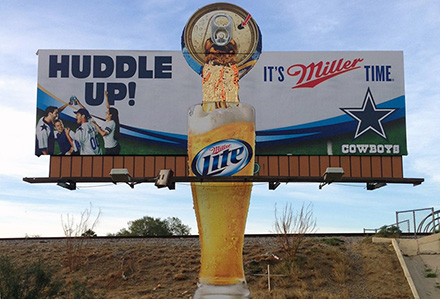 Miller Lite Bulletin Billboard with Extension Lamar Advertising